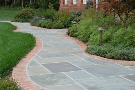 Flagstone Walkway With Brick Border Four Seasons